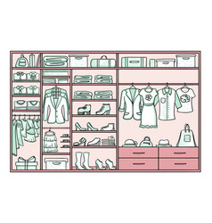 Colored doodle female wardrobe concept vector