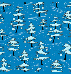 Cute winter seamless pattern with christmas tree vector