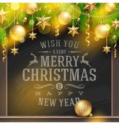 Christmas greetings on a chalkboard and decor vector