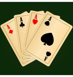 Four aces on green background vector image