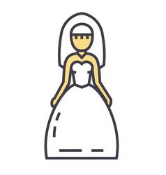 Bride wedding dress marriage concept line vector
