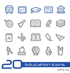 Education icons outline series vector