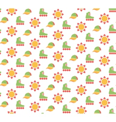 Spring seamless pattern with baseball caps rollers vector