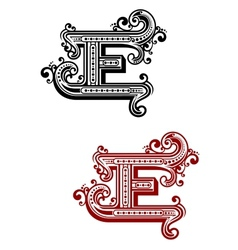 Retro capital alphabet letter e vector