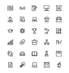 School and Education Line Icons 5 vector image