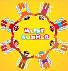 Happy summer many people vector