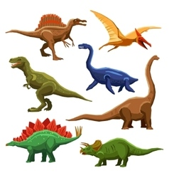 Dinosaurs color icons iet vector