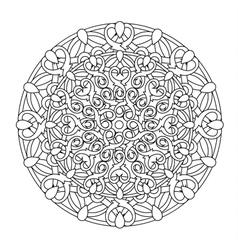 Contour monochrome mandala ethnic religious design vector