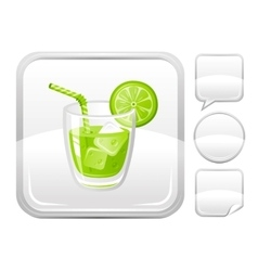 Sea summer beach and travel icon with lime juice vector