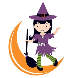Cute witch dancing on moon vector