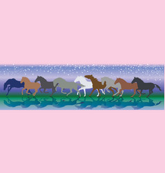 Background with horses running gallop in the night vector