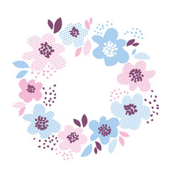 Blue and rosy color decorative floral element in vector