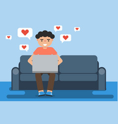 Boy with a laptop print love messages on the couch vector