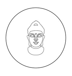 Buddha icon in outline style isolated on white vector