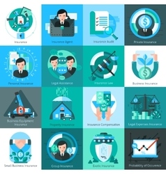 Business Insurance Icons Set vector image