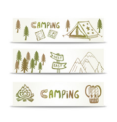 camping banners horizontal set with mountain and vector image