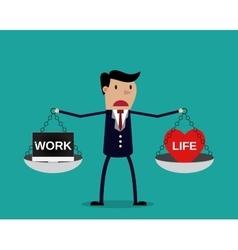Cartoon businessman balancing Work and life vector image vector image