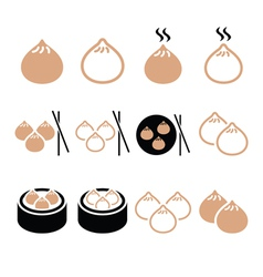 Chinese dumplings asian food dim sum icons vector