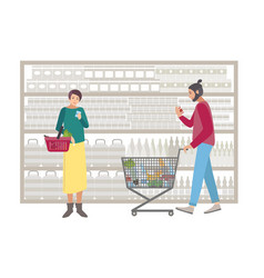 concept for supermarket or shop people with vector image vector image