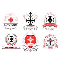 easter crucifix cross for paschal greeting vector image vector image