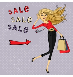 Fashion sale ad shopping girl with bags vector