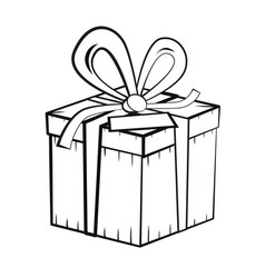 gift box outline present box vector image