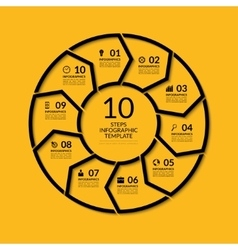 Infographic circle template with 10 steps vector image vector image