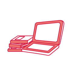 laptop computer with books vector image