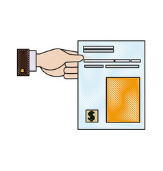 man hand holds the bill for payment account for vector image vector image