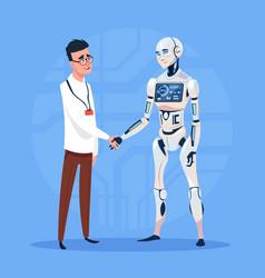 Modern robot handshake with man futuristic vector