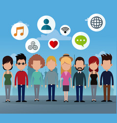 People group social network media icons vector
