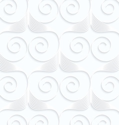 Quilling white paper stripes and spirals in row vector image