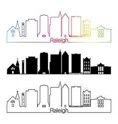 Raleigh V2 skyline linear style with rainbow vector image