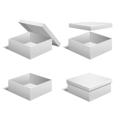 Realistic Template Blank White Boxes Set vector image