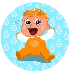 sad crying baby vector image vector image