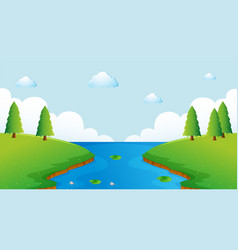 Scene with river and trees vector