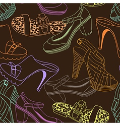 Shoes pattern brown vector image
