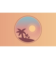 Silhouette of palm and sun scenery vector