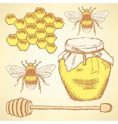 Sketch honey background in vintage style vector