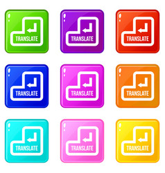 translate button set 9 vector image