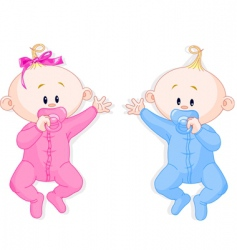 twins hold the pacifiers vector image vector image
