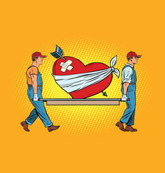 valentine wounded heart in love carry movers vector image