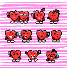 Valentines day couple heart emoji patch set vector
