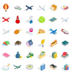 variety icons set isometric style vector image vector image