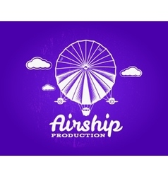 Vintage airship logo retro dirigible balloon vector