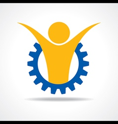 Welcoming person concept man icon in gear wheel vector image vector image