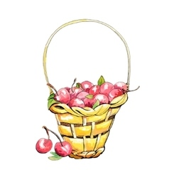 Wicker cherry basket vector