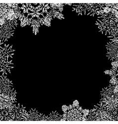 Winter frame with snowflakes on black background vector image vector image