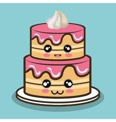 big cake cartoon with cream pink graphic vector image