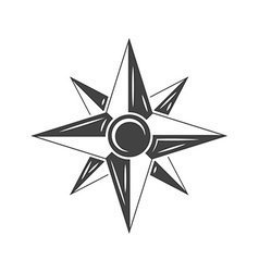 Wind rose compass black icon logo element flat vector